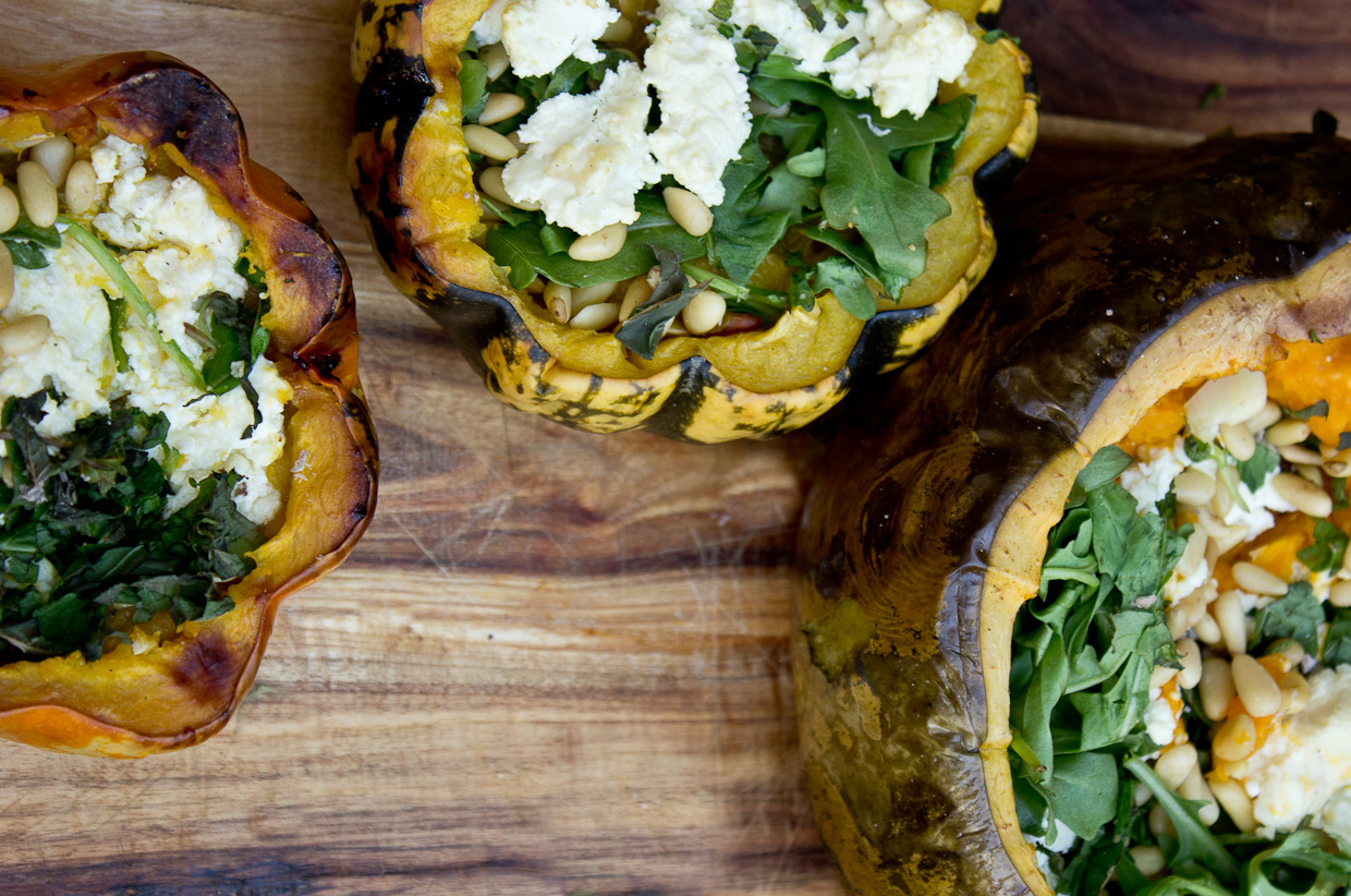 baked squash with raw sheep cheese, mint, rocket and toasted pine nuts | Photo by Claire Burge