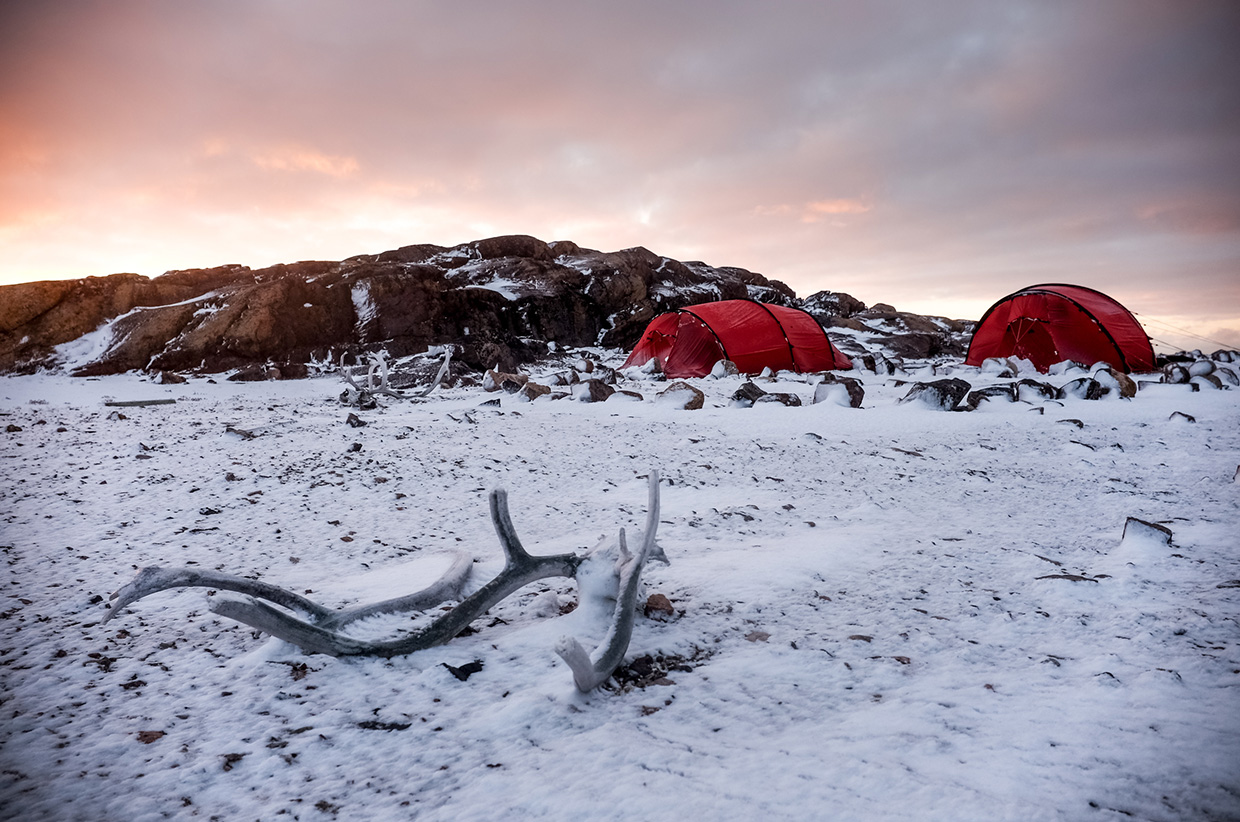 Camping in the snow on Baffin Island