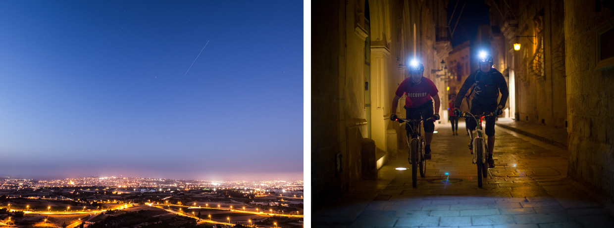 Night riding in Malta. Photo by Chris Davies