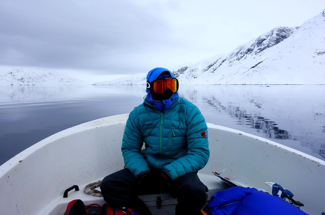 Boating across the lakes of East Greenland