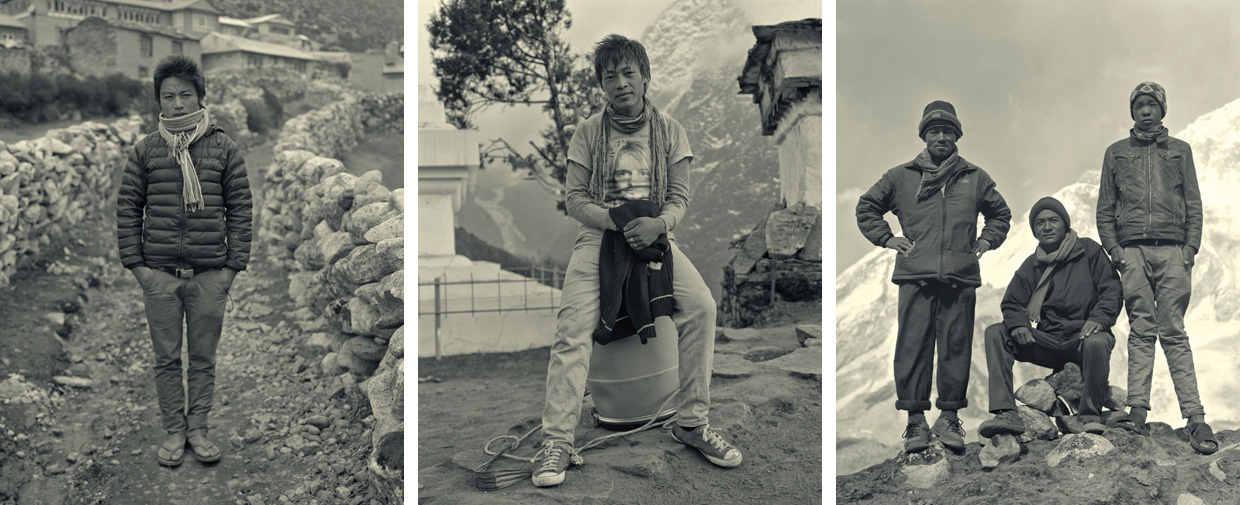 portraits of the porters in the himalayas