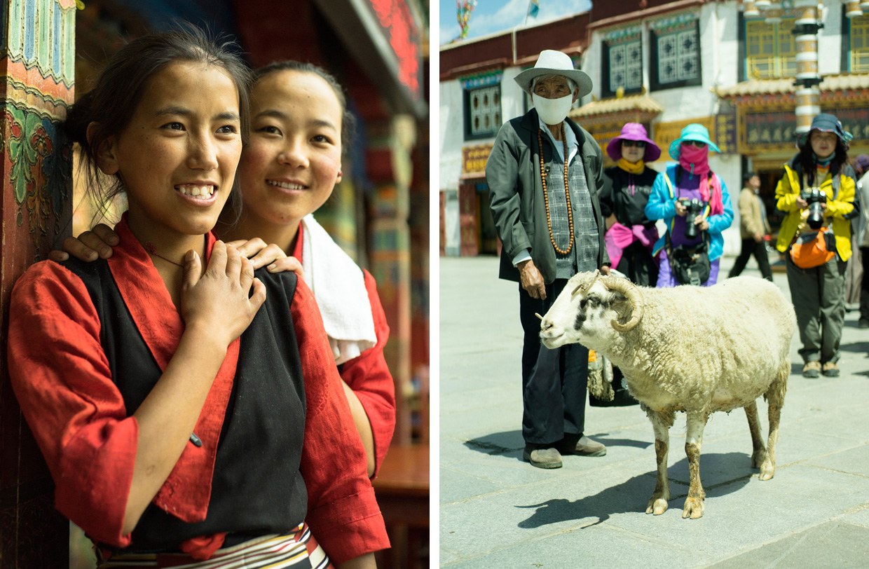 tourists and locals in Tibet