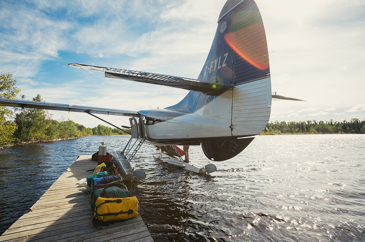 A float plane lands in Wabakimi Provincial Park