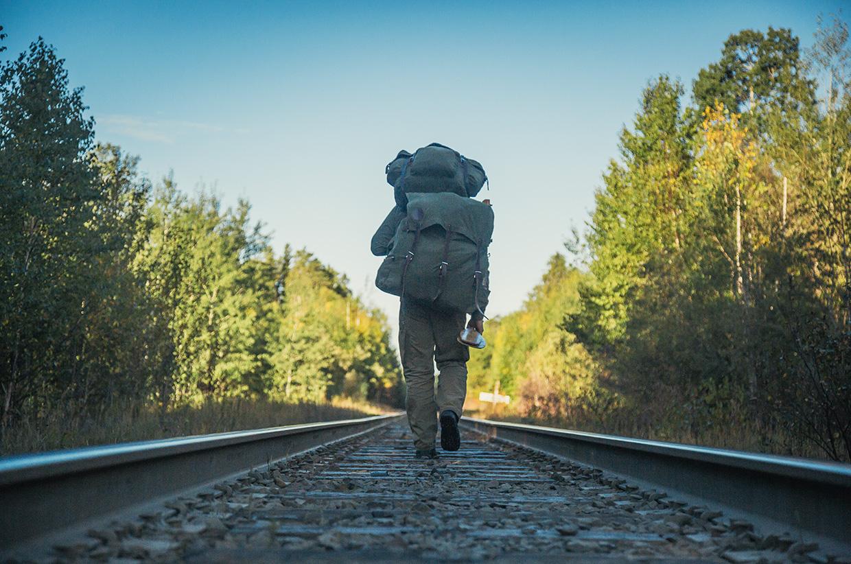 Ray Mears along a train track