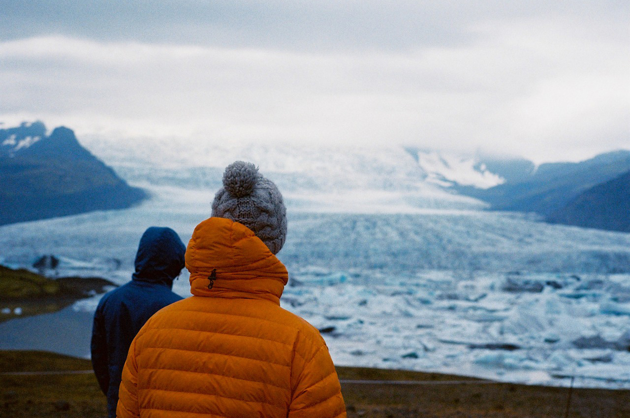 Looking out across the glacier, Iceland. Photo by James Bowden
