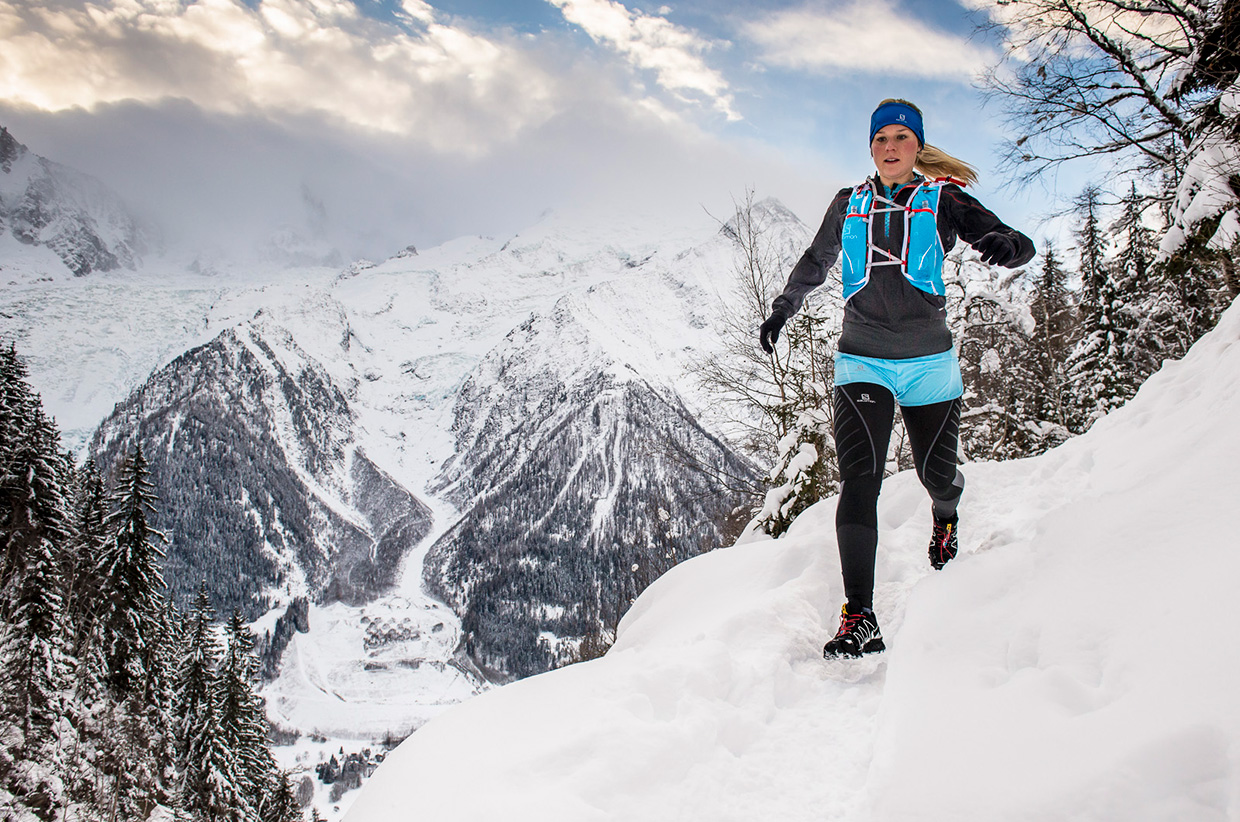 Sophie Radcliffe running in the Alps  | Photo by Daniel Wildey