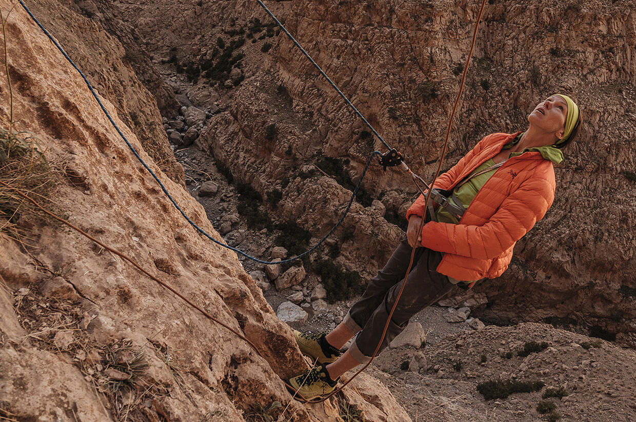 Ines Papert climbing in the High Atlas Mountains - Photo by Franz Walter