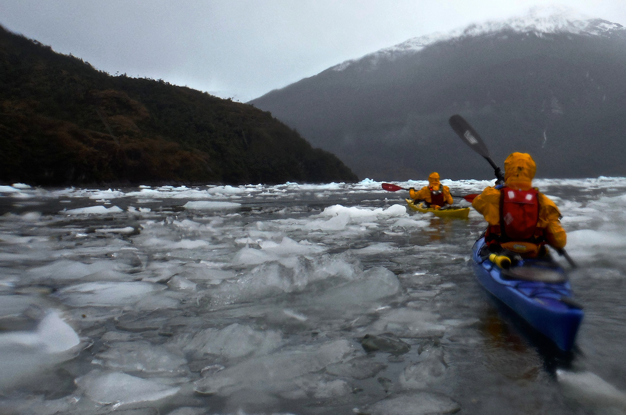 Bad weather kayaking in Patagonia