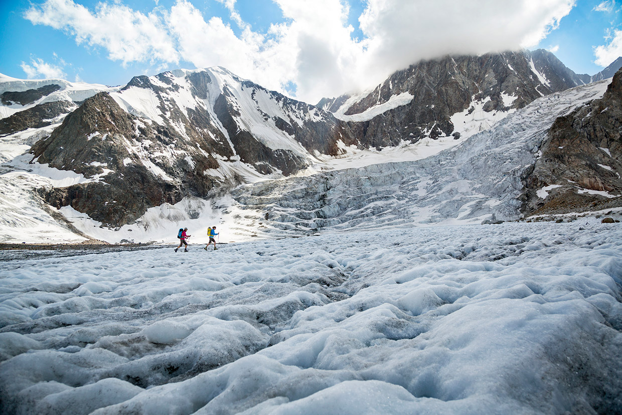 Hiking on a glacier, Switzerland