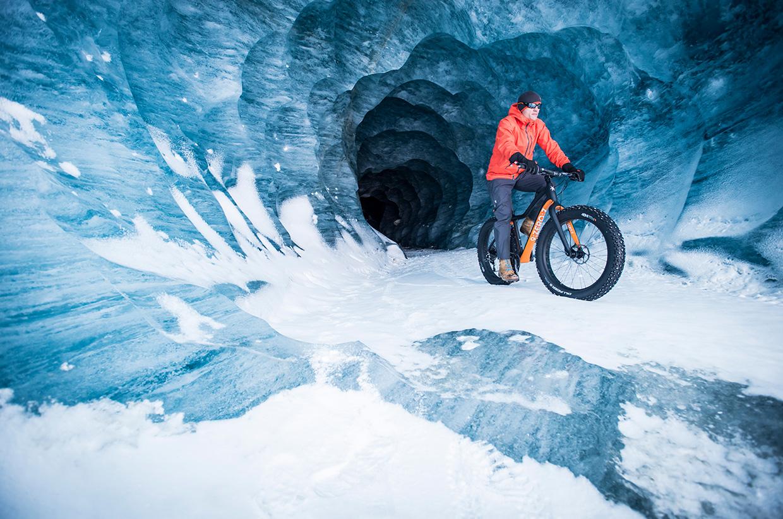 Fatbiking in an ice cave
