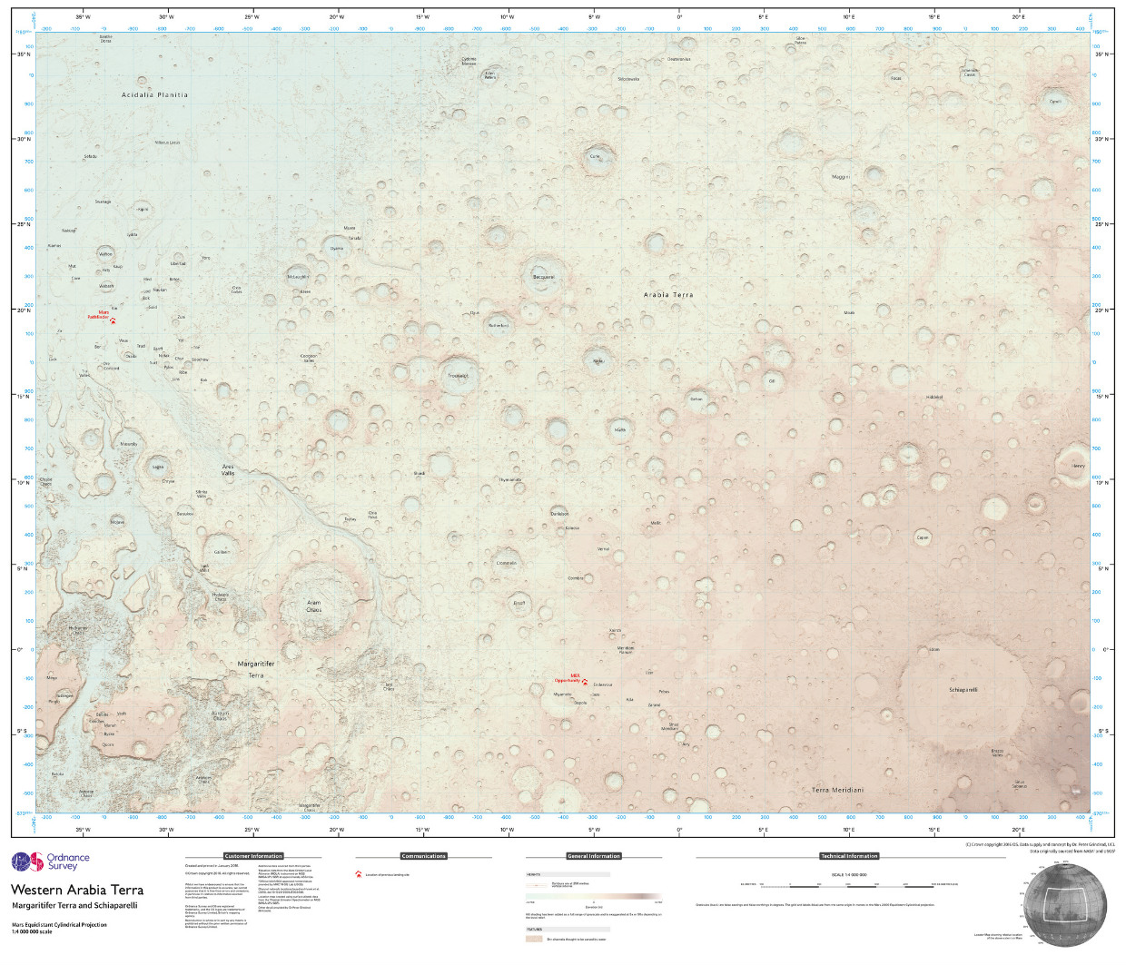 Ordnance Survey create a map of the surface of Mars