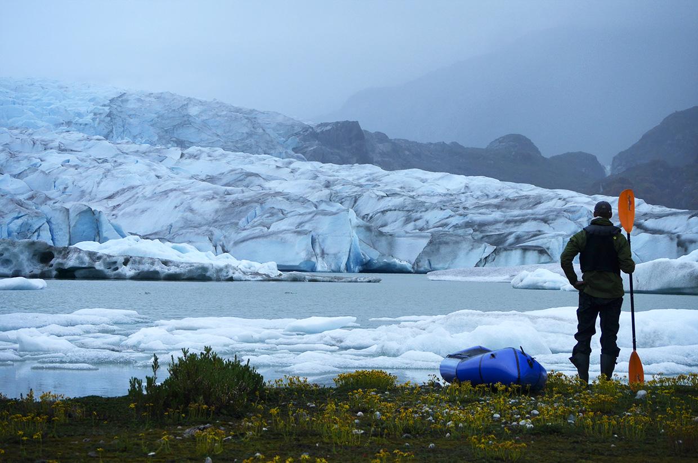 50-At-Glaciar-Andres,-on-self-timer