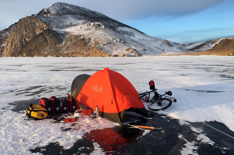 Cycling Frozen Lake Baikal